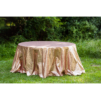 Round Blush Sequin Tablecloth