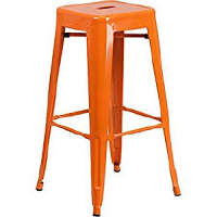 Orange metal stools