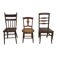 Assorted wooden dining chairs