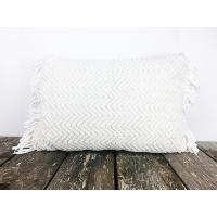 White chevron knit pillow