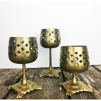 Brass tealight holder set