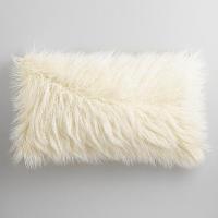 Ivory faux fur lumbar pillow