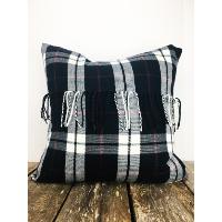 Blue plaid flannel pillow