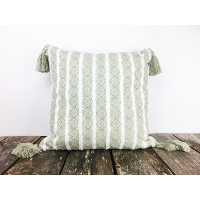 Green and white striped pillow