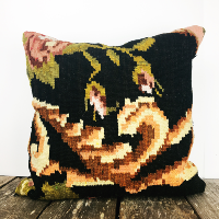 Vintage floral kilim pillow (black)
