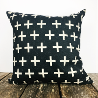 Black with white crosses pillow