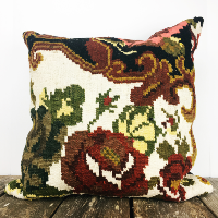 Vintage floral kilim pillow (cream)