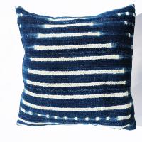Indigo mudcloth pillow