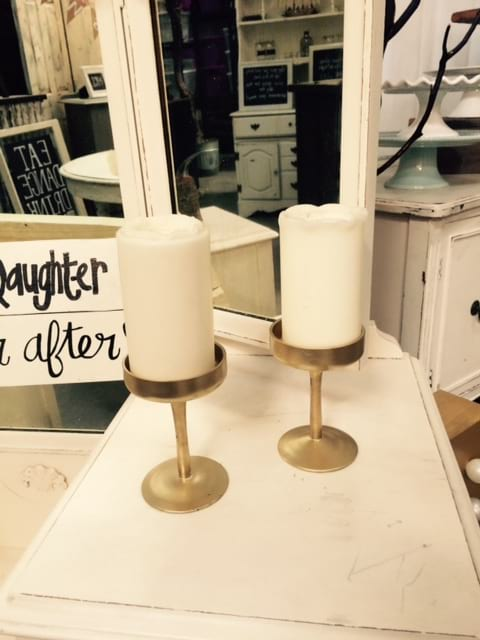 GOLD SM GLASS CANDLE HOLDERS