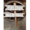 EAT DRINK & BE MARRIED GRAY WOOD STAKED SIGN