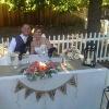 MR. & MRS. BRWN LTR BURLAP TABLE BANNER