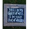 GLASS OF WINE/SHOT OF WHISKEY - VINT WOOD FRAMED SIGN