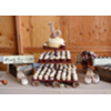 VINT WOOD (BARN RED FAUX PLANKS) 3 TIER CUPCAKE TOWER