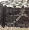 BLACK SHEER FABRIC W/ ROSETTES 4.5'x6'
