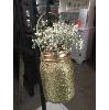 GOLD GLITTER HANGING MASON JAR