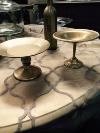 GOLD SM PLATE/BOWL ON PEDESTAL