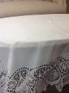 WHITE LACE VINYL TABLECLOTH 5.5'x5.5'