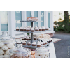 VINT WOOD (GRAY FAUX PLANKS) 3 TIER CUPCAKE TOWER