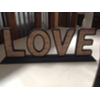 LOVE SIGN - BLACK WOOD/BURLAP