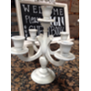 WHITE 5 CANDLE WOOD TABLETOP CANDELABRA