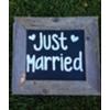 JUST MARRIED - VINT WOOD FRAMED SIGN