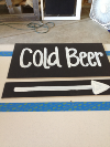 COLD BEER - CHALKBOARD SIGN ON WOODEN STAKE