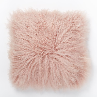 pink Mongolian fur pillow