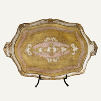 pink and gold florentine tray