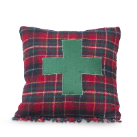 green cross plaid pillow