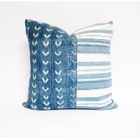 faded indigo mudcloth pillow