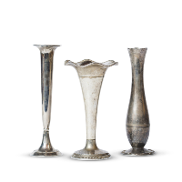 assorted silver bud vases