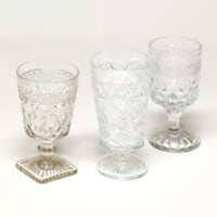 clear glass goblets