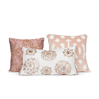 blush beaded pillows (set of 3)