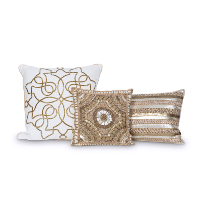gold beaded pillows (set of 3)