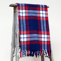 red, white and blue wool blanket