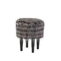 Powell black fur stool