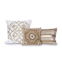 gold beaded pillows (set of 3)