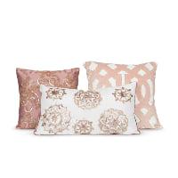 blush beaded pillows (set of 3)