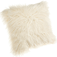 cream Mongolian fur pillow