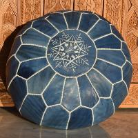 blue Moroccan pouf