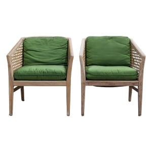 The Leifs: Rattan and Olive Green Satin Chairs