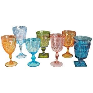 Mixed Colored Glass Goblets