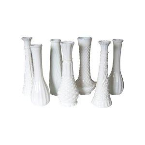 The Cypress Hill: Medium Milk Glass Vases