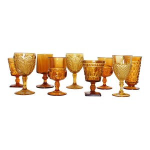 New! Amber Glass Goblets