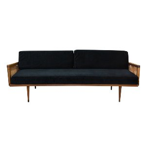The Salvatore: Black Velvet Midcentury Sofa