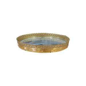 The Birdie: Small Round Gold Mirror Tray