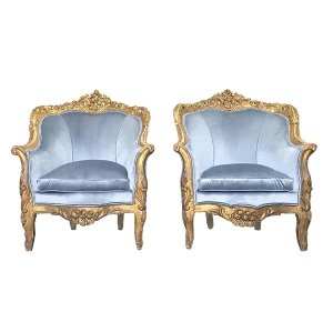 The Hannalores: Dusty Blue Velvet Chairs