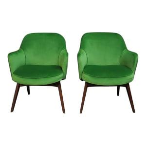 The Brooklands: Palm Green Midcentury Side Chairs