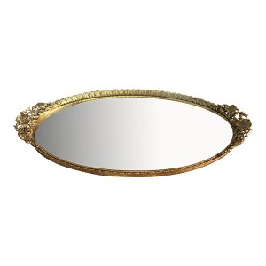 The Elaine : Oval Gold Mirror Tray