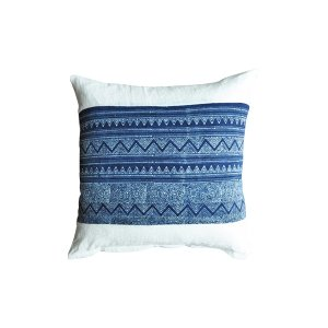 The Paisley: White + Blue Pillow